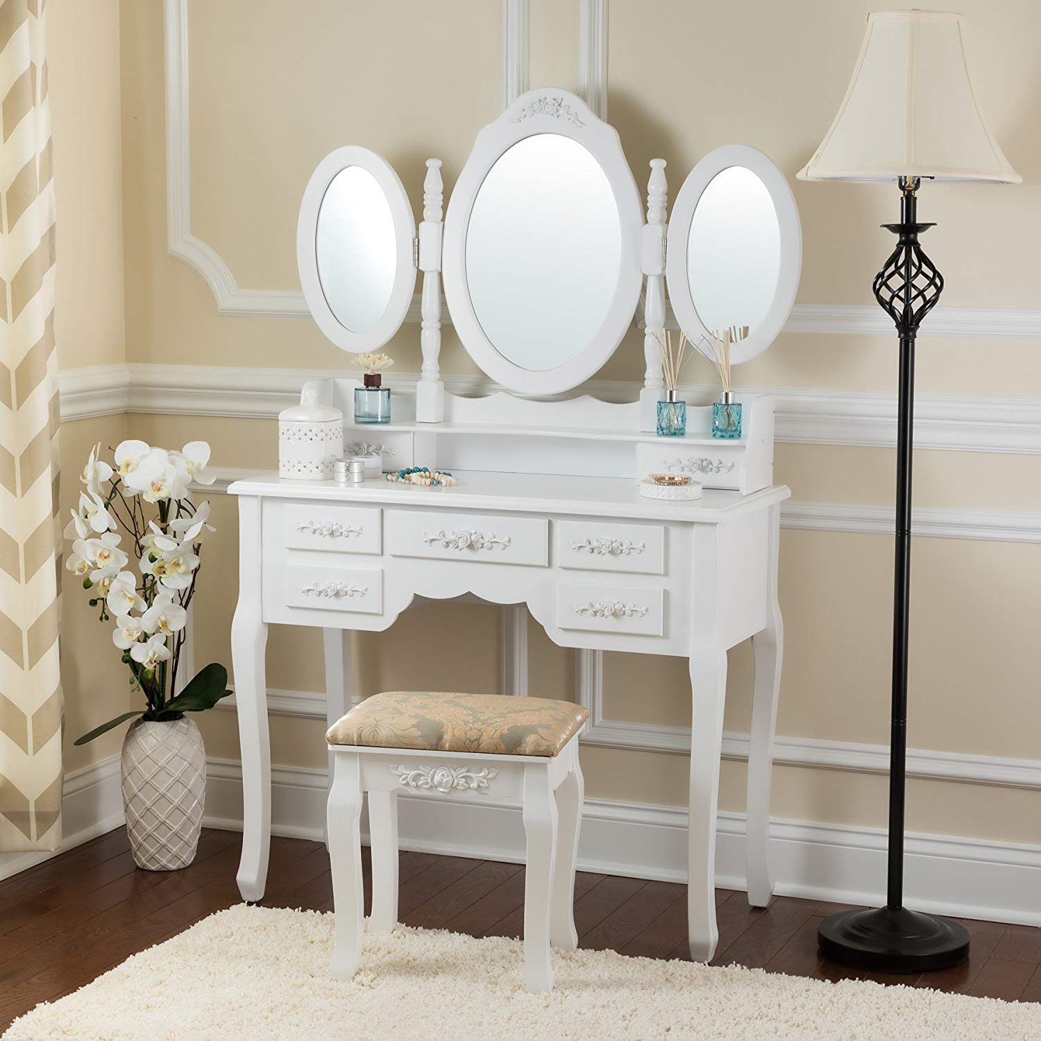 White Makeup Vanity Set, MakeupDesk with Tri folding Mirrors and 7 Drawers with Mirror